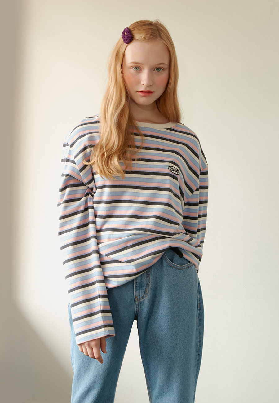 CLOTTY[LAST ORDER]STRIPE PATCH LONG SLEEVE[PINK]