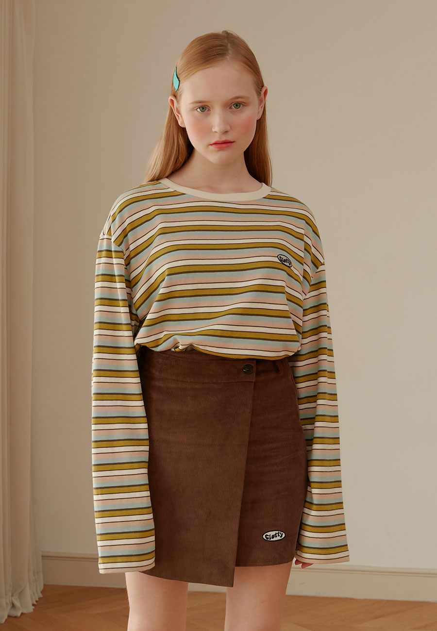 CLOTTY[LAST ORDER]STRIPE PATCH LONG SLEEVE[OLIVE]