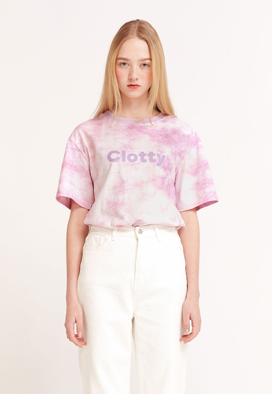 CLOTTYTIE DYE LOGO T-SHIRT[PURPLE]