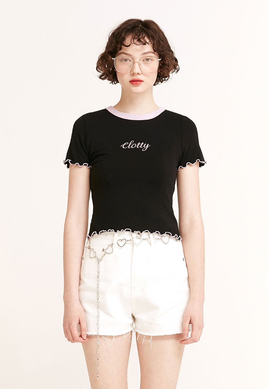 CLOTTYLOGO WAVE CROP T-SHIRT[BLACK]