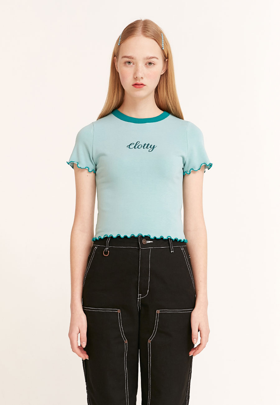 CLOTTYLOGO WAVE CROP T-SHIRT[BLUE]