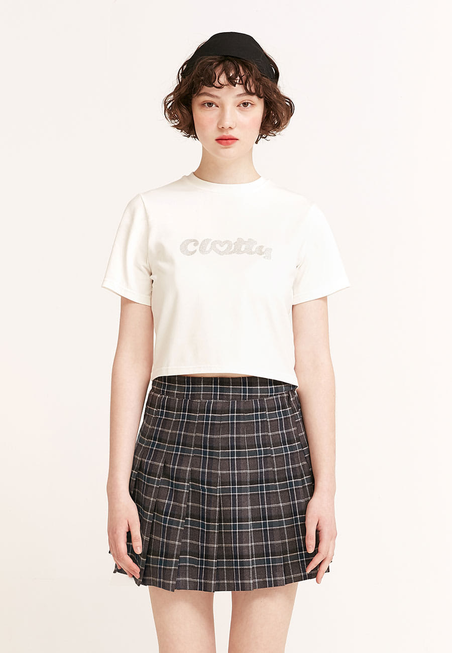 CLOTTYHEART CLOTTY GLITTER CROP T-SHIRT[WHITE]