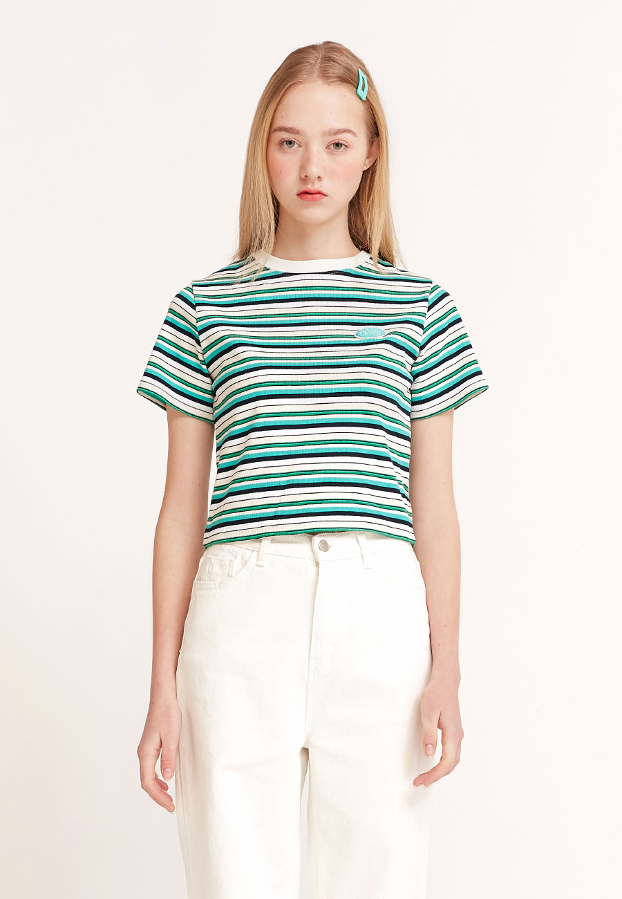 CLOTTYSTRIPE COLOR PATCH CROP T-SHIRT[GREEN]