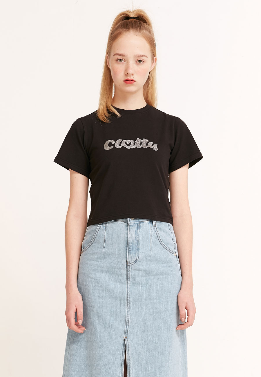 CLOTTYHEART CLOTTY GLITTER CROP T-SHIRT[BLACK]