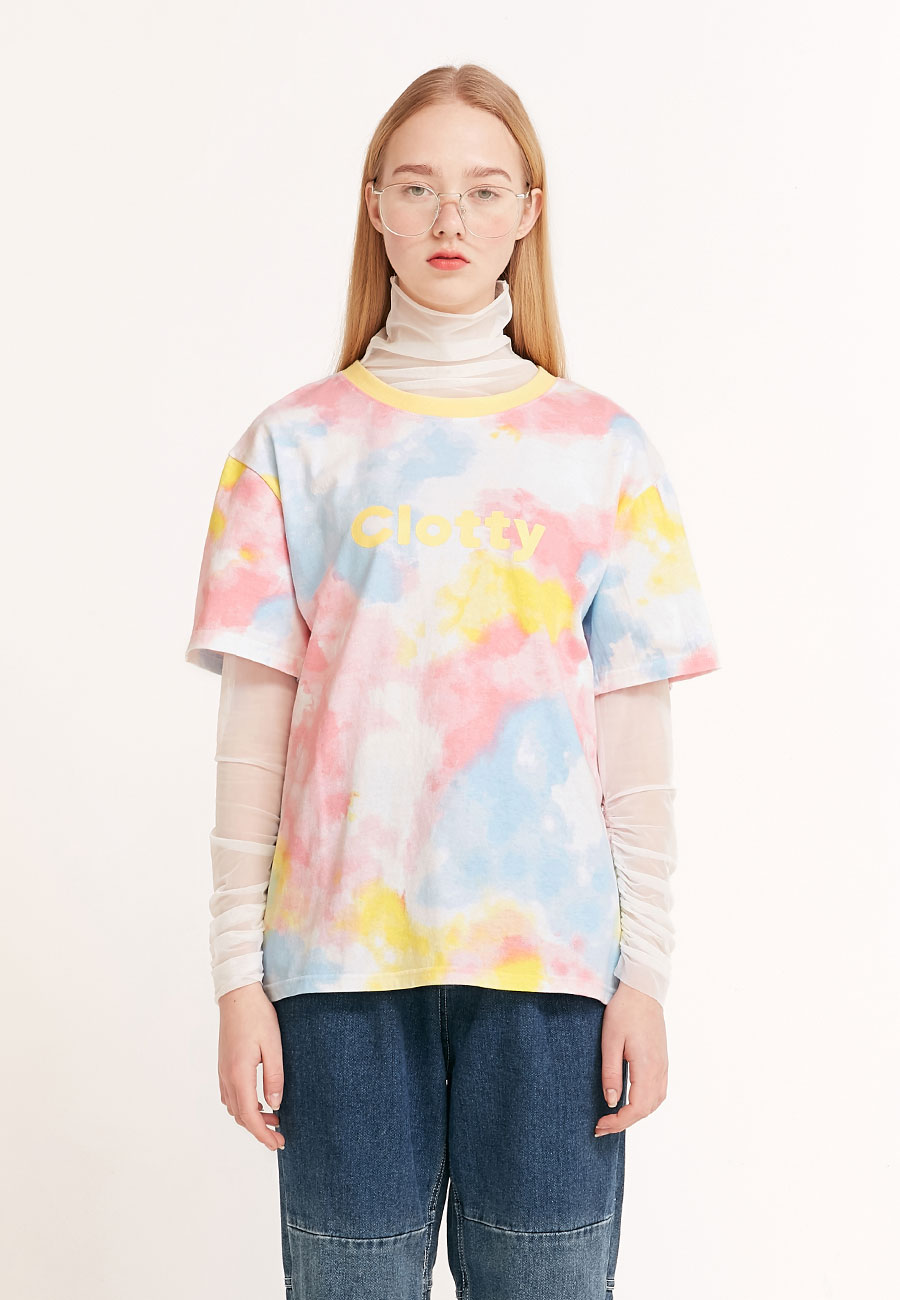 CLOTTYTIE DYE LOGO T-SHIRT[YELLOW]