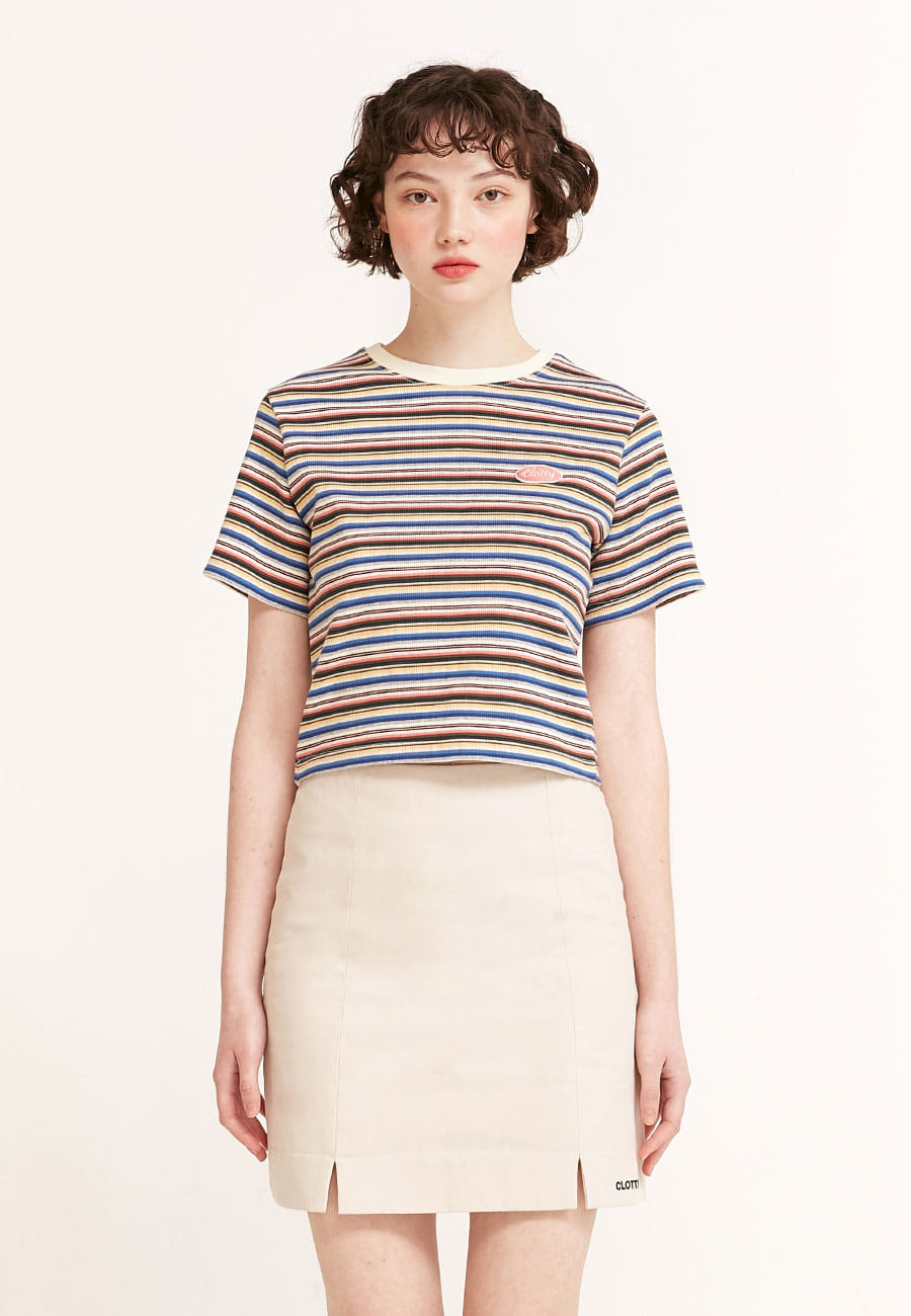CLOTTYSTRIPE COLOR PATCH CROP T-SHIRT[PINK]
