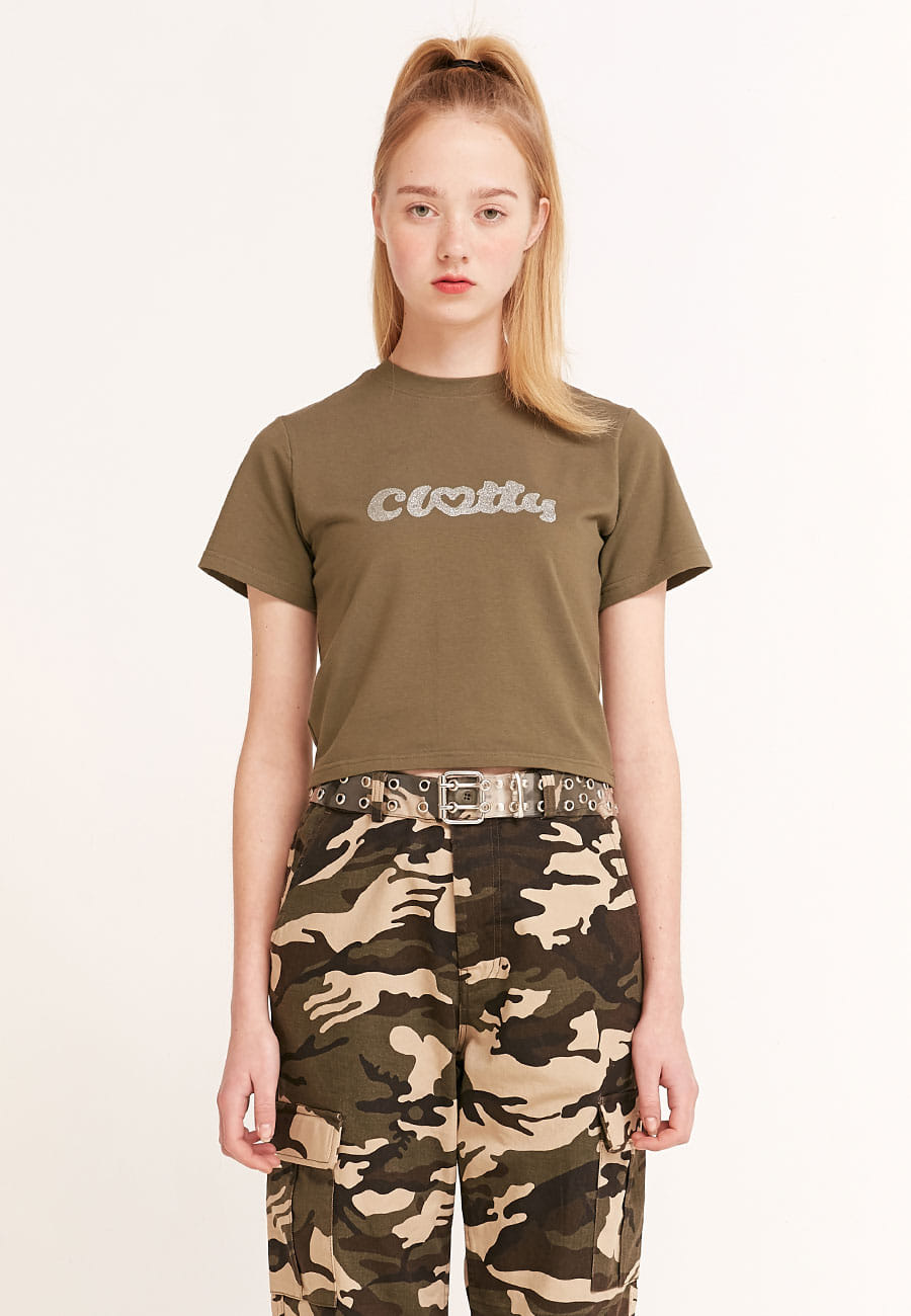 CLOTTYHEART CLOTTY GLITTER CROP T-SHIRT[KHAKI]