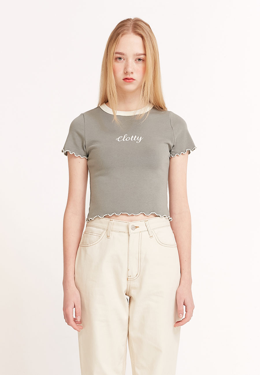 CLOTTYLOGO WAVE CROP T-SHIRT[KHAKI]
